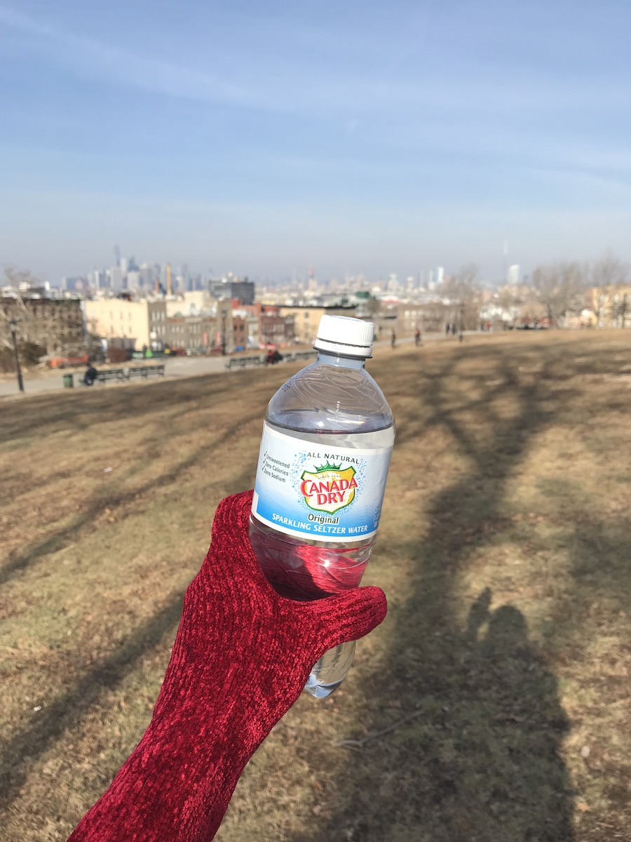 A red-gloved hand holds a bottle of Canada Dry seltzer in front of a brown grass expanse with fuzzy cityscape in the background.