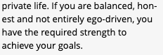 Fragment of text from my cartography chart that reads '...private life. If you are balanced, honest, and not entirely ego-driven, you have the required strength to achieve your goals'